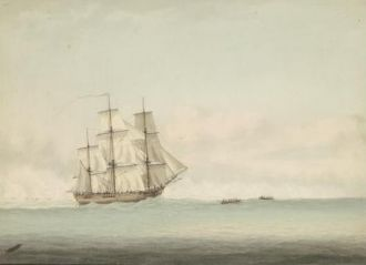 HMS Endeavour off the coast of New Holland, by Samuel Atkins -1794