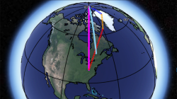 The observed direction of polar motion, shown as a light blue line, compared with the sum (pink line) of the influence of Greenland ice loss (blue), postglacial rebound (yellow) and deep mantle convection (red). The contribution of mantle convection is hi