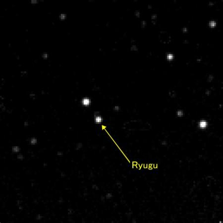 The asteroid Ryugu as seen by the craft
