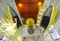 The Mars Orbiter Mission satellite getting loaded into the payload bay of the PSLV C25, it had a launch mass of 1337 kg