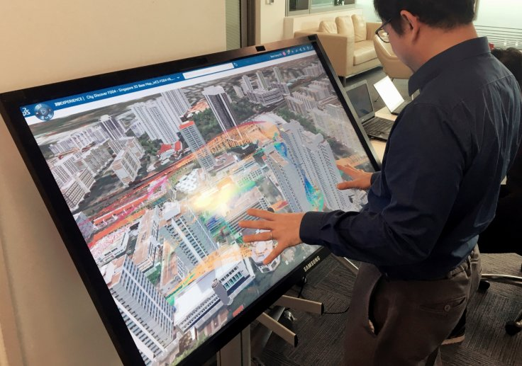 George Loh, director of programmes at the National Research Foundation (NRF), showcases Virtual Singapore, a detailed 3D model of the city-state that will be fed with big data and could assist in everything from urban planning to disaster mitigation, at t