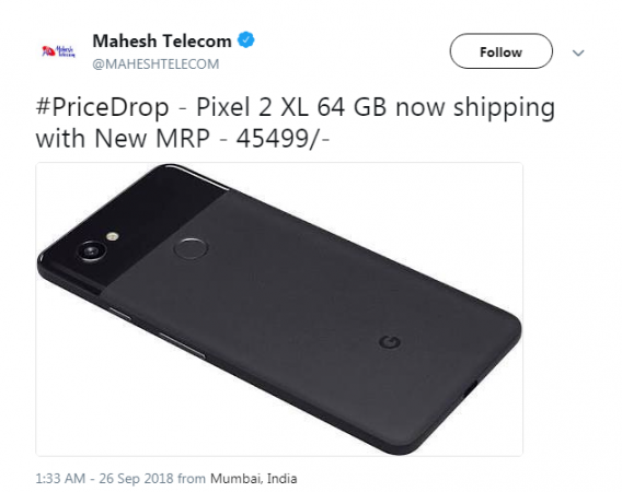 Pixel 2 XL price in India dropped