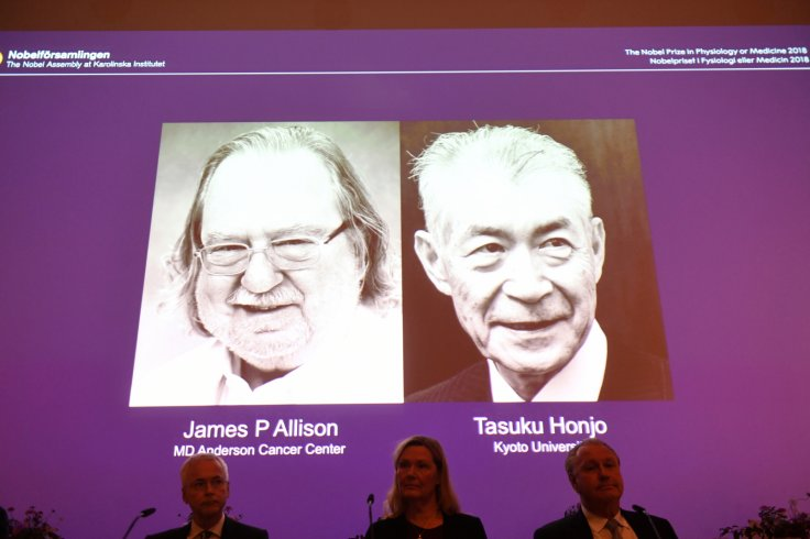 The Nobel Prize laureates for Medicine or Physiology 2018 are James P. Allison, U.S. and Tasuku Honjo, Japan presented at the Karolinska Institute in Stockholm, Sweden October 1, 2018. TT News Agency/Fredrik Sandberg via REUTERS