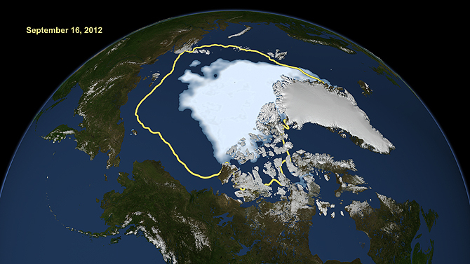Satellite data reveal how the new record low Arctic sea ice extent, from Sept. 16, 2012, compares to the average minimum extent over the past 30 years (in yellow). Sea ice extent maps are derived from data captured by the Scanning Multichannel Microwave R