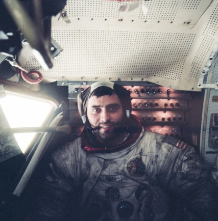 Young Harrison Schmitt inside the Lunar Module on the surface of the Moon following the final moonwalk of Apollo 17