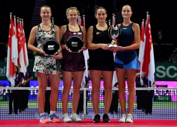 Kristina Mladenovic and Timea Babos with Barbora Krejcikova and Katerina Siniakova