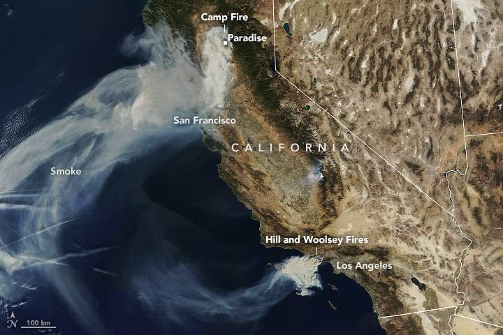 Annotated image of the Camp Fire in Northern California and the Hill and Woolsey fires in southern California, taken Nov. 9, 2018, by the Moderate Resolution Imaging Spectrometer on NASA's Terra satellite.