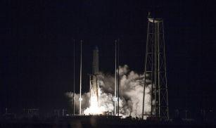 Northrop Grumman's Cygnus spacecraft launches on an Antares rocket at 4:01 a.m. EST Nov. 17, 2018, from the Virginia Mid-Atlantic Regional Spaceport's Pad-0A at NASA's Wallops Flight Facility in Virginia. Northrop Grumman's 10th contracted cargo resupply