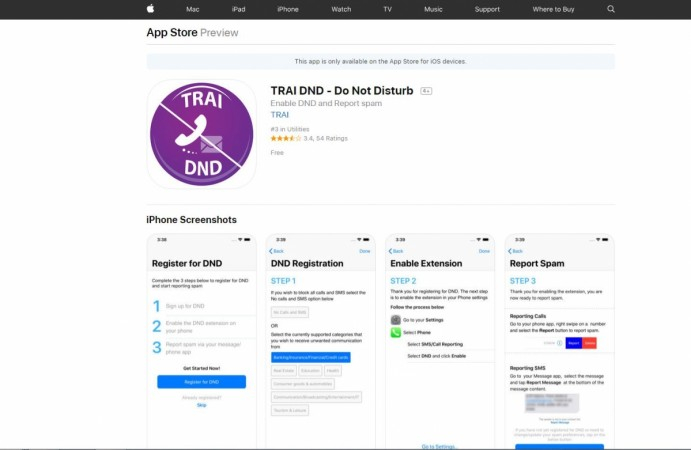 TRAI DND-Do Not Disturb now available on Apple App Store