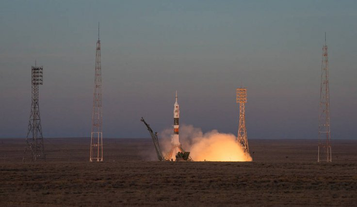 A Soyuz booster rocket launched the Soyuz MS-11 spacecraft from the Baikonur Cosmodrome in Kazakhstan on Monday, Dec. 3, 2018, carrying Soyuz Commander Oleg Kononenko of Roscosmos, and astronauts Anne McClain of NASA and David Saint-Jacques of the Canadia