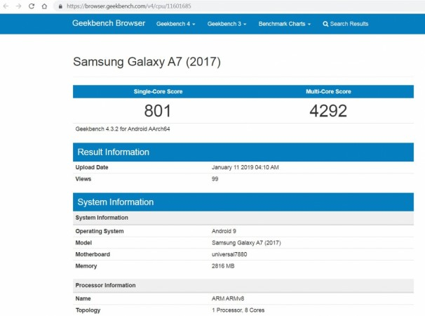 Samsung Galaxy A7 (2017) with Android Pie spotted on Geekbench performance testing website.Geekbench (screen-grab)