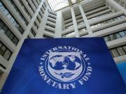 The International Monetary Fund logo is seen during the IMF/World Bank spring meetings in Washington, U.S., April 21, 2017.