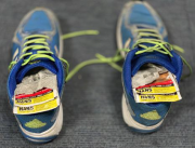 Packets of chewing tobacco hidden inside the motorcyclist's shoes