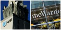 (L) An AT&T logo and communication equipment is shown on a building in downtown Los Angeles, California October 29, 2014 and (R): The Time Warner building is pictured in New York, New York December 11, 2013. The $85-billion deal will enable AT&T to expand