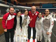 Foil national partner coach Viacheslav Bobok, fencers Tatiana Wong and Denyse Chan, national foil and head coach Andrey Klyushin, and fencers Maxine Wong and Amita Berthier, at the Asian Junior and Cadet Fencing Championships in Jordan.