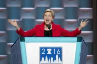 U.S. Senator Elizabeth Warren addresses the 2016 U.S. Democratic National Convention at Wells Fargo Center, Philadelphia, Pennsylvania, the United States, on July 25, 2016. The Democratic National Convention kicked off on Monday. (Xinhua/Li Muzi/IANS)(wjd