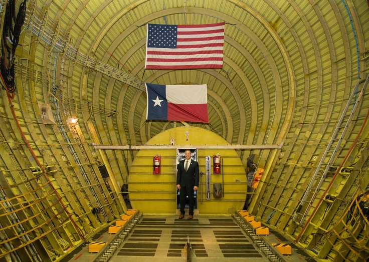 NASA Administrator Jim Bridenstine was photographed inside the Super Guppy aircraft on Monday, March 11, 2019, at Kennedy Space Center in Florida. The Super guppy will carry the flight frame with the Orion crew module and service module inside to a testin
