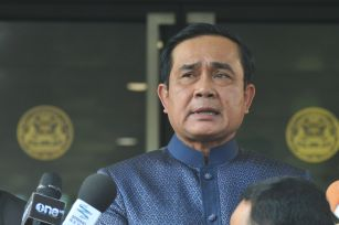Thai Prime Minister Prayuth Chan-ocha speaks to reporters at the Government House in Bangkok Aug. 18, 2015. Prayuth Chan-ocha on Tuesday promised the authorities would quickly track down those responsible for the central Bangkok bombing, which he describe