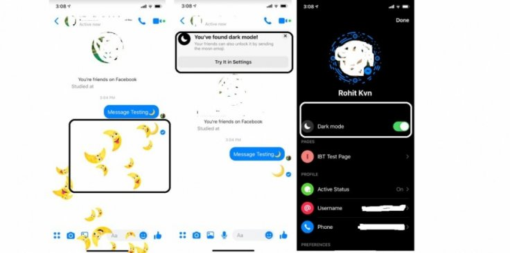 With just a crescent Moon emoji, you can activate dark mode on Facebook Messenger app.KVN Rohit/IBTimes India