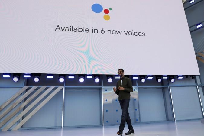 Google CEO Sundar Pichai announcing the new features of Google Assistant,