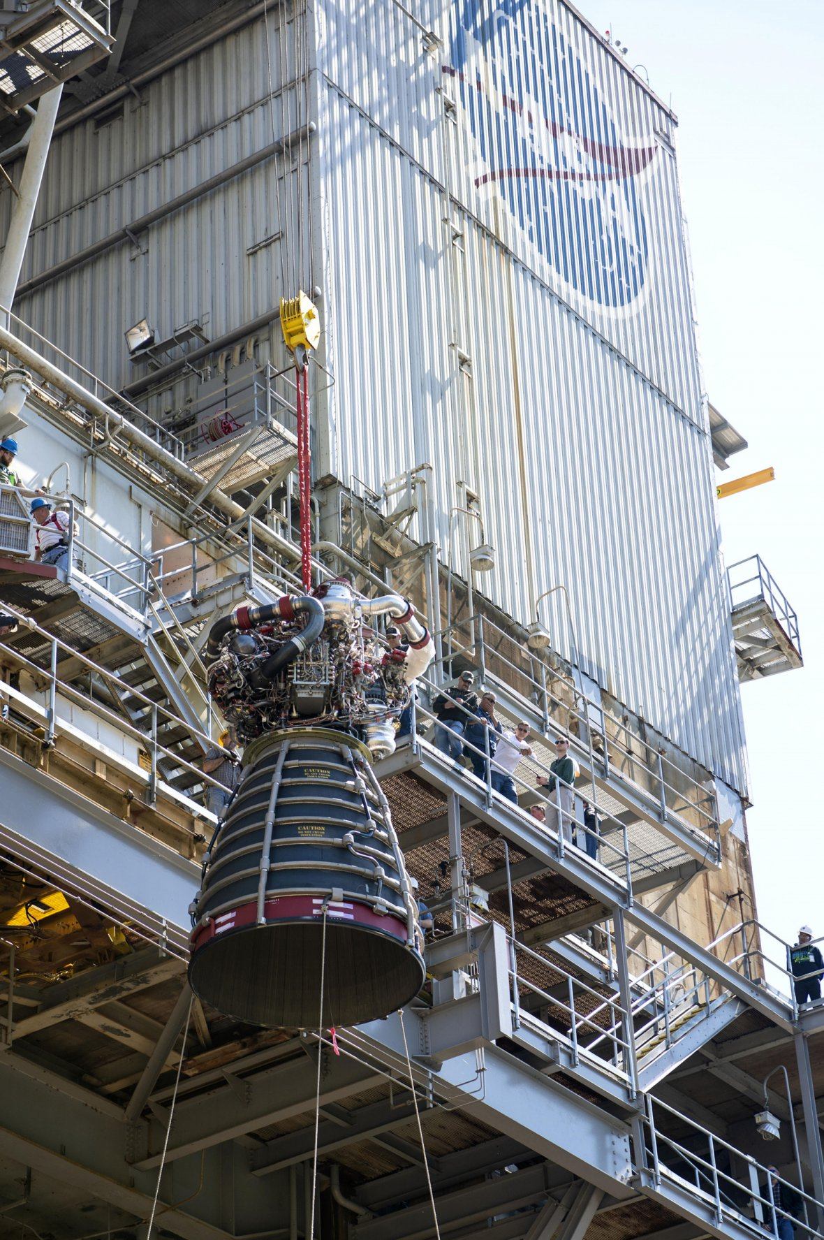 RS-25 flight engine No. 2062 is lifted onto the A-1 Test Stand at NASA's Stennis Space Center near Bay St. Louis, Miss. The Aerojet Rocketdyne-built engine was delivered to the stand March 20 and test fired April 4