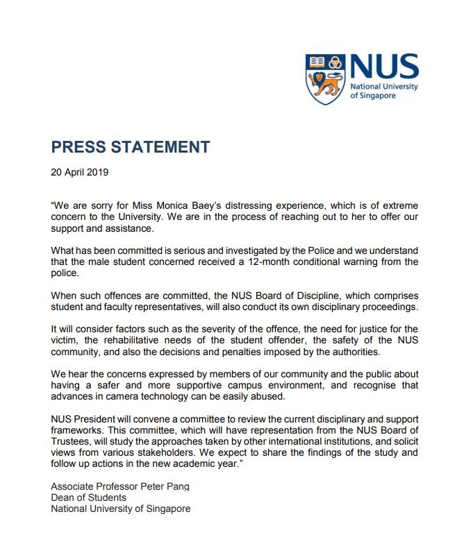 NUS statement
