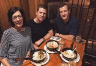 Australian cricketer James Faulkner having dinner with his mother Roslyn Carol Faulkner and his boyfriend of five years, Rob Jubb