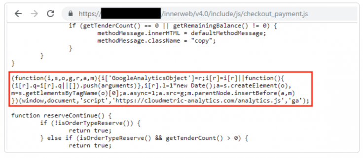 Mirrorthief injection on PrismWeb checkout payment's library