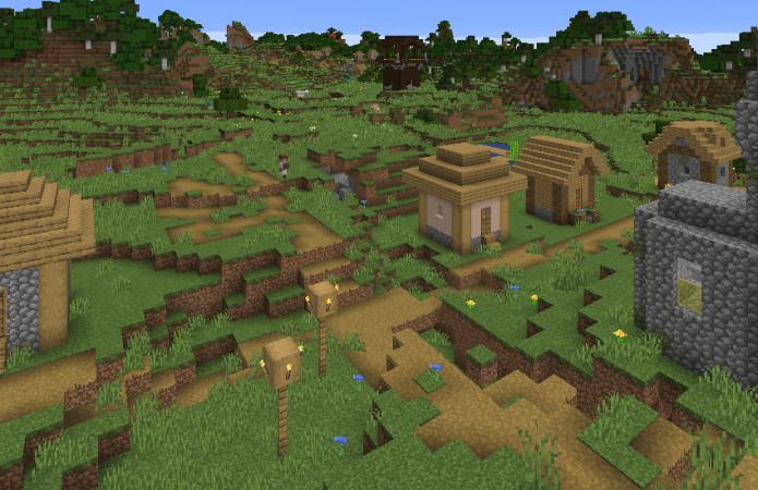 A screenshot from Minecraft shows a typical forest village