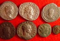 row 1: Elagabalus (silver 218-222AD), Trajan Decius (silver 249-251AD), Gallienus (billon 253-268AD Asian mint); row 2: Gallienus (copper 253-268AD), Aurelian (silvered 270-275AD), barbarous radiate (copper), barbarous radiate (copper) Date