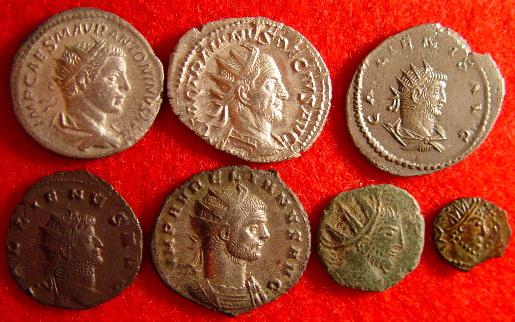 row 1: Elagabalus (silver 218-222AD), Trajan Decius (silver 249-251AD), Gallienus (billon 253-268AD Asian mint); row 2: Gallienus (copper 253-268AD), Aurelian (silvered 270-275AD), barbarous radiate (copper), barbarous radiate (copper) Date