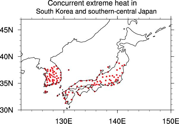 Extreme Heat over South Korea and Japan