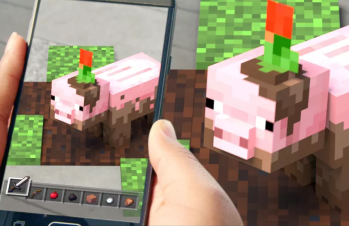 A teaser for Minecraft: Earth showed a pig from the game.Microsoft's YouTube Channel