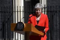 British Prime Minister Theresa May speaks to the media outside 10 Downing Street in London, Britain on May 24, 2019. Theresa May said on Friday that she will quit as Conservative leader on June 7, paving ways for contest to decide Britain's next prime mi