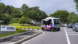 The autonomous NUSmart Shuttle will run alongside regular buses, cars and motorcycles in a year-long study which will begin on 25 May 2019
