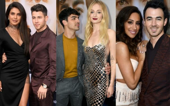 The Jonas Brothers and J Sisters at Chasing Happiness premiere.