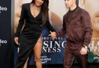 Priyanka Chopra and Nick Jonas on the Chasing Happiness premiere red carpet.