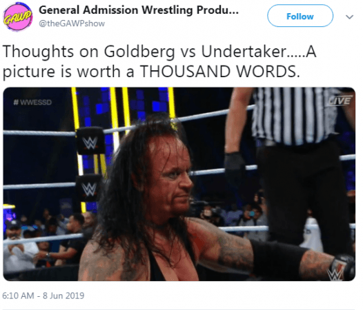 Twitter users pointed to Undertaker's dissatisfied expression after the match