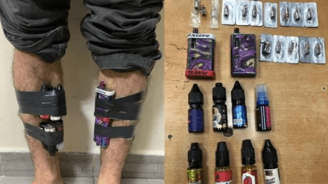 E-cigarettes and eight bottles of e-cigarette liquids