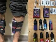 E-cigarettes and eight bottles of e-cigarette liquids