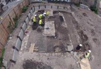 archaeological excavation site in Edinburgh.