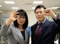 Assoc Prof Wang Xiaomeng and Prof Chen Peng with the eye patch prototypes.