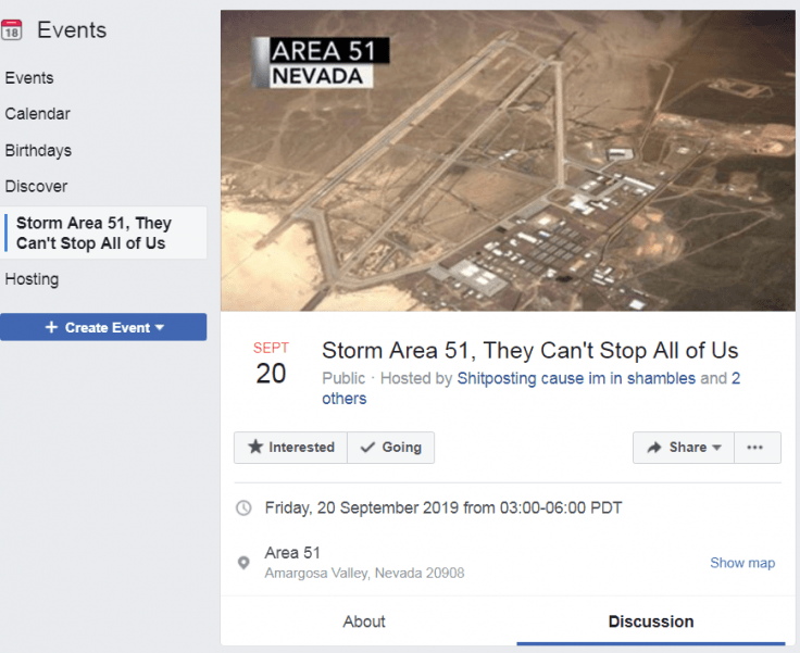 When is area 51 event