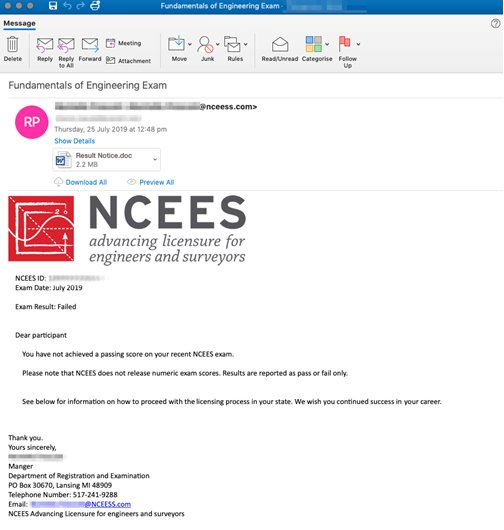 NCEES-themed phishing email