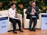 From left: Mr Heng and Prof Tan answering questions from the audience during their dialogue session