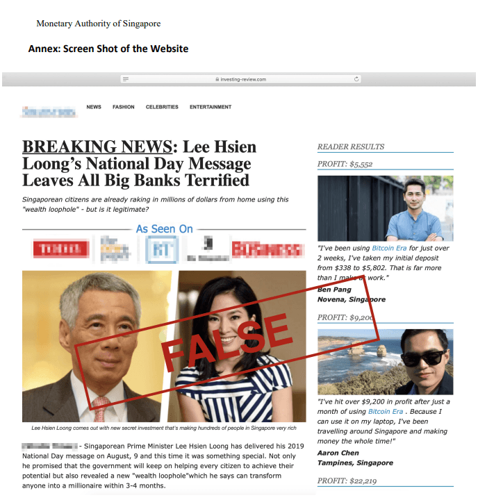 A fraudulent website has been using fabricated comments attributed to Prime Minister Lee Hsien Loong to solicit Bitcoin investments.