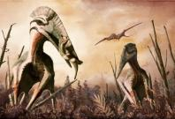 Restoration of the giant azhdarchid pterosaur Hatzegopteryx catching an unsuspecting dinosaur for supper. In addition to carnivory, azhdarchids have been hypothesized to have eaten fish, insects, fruits, hard-shelled organisms or a combination of them all