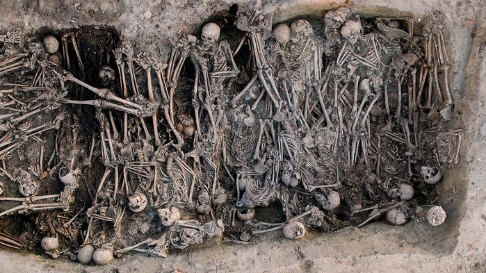 "Mass grave of the Black Death period, identified in the ""16 rue des Trente Six Ponts"" archaeological site in Toulouse, France."