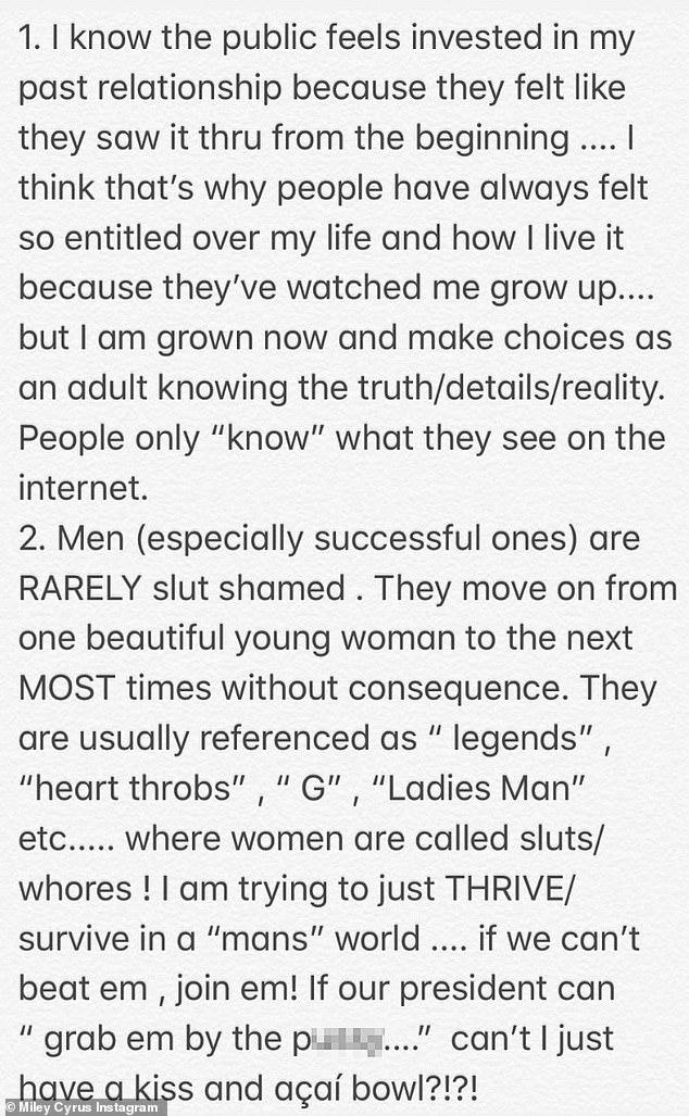 MIley Cyrus Instagram Rant Post