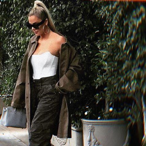 Khloe Kardashian White Corset Top